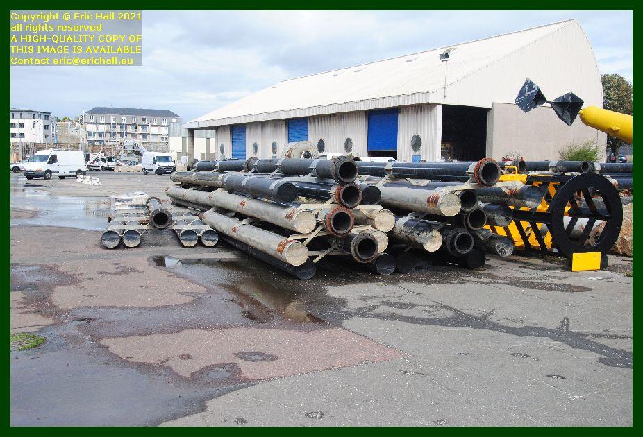 tubes on quayside port de Granville harbour Manche Normandy France Eric Hall photo September 2021