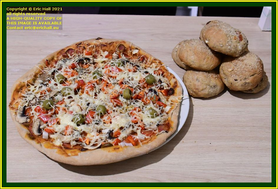 vegan pizza fruit buns place d'armes Granville Manche Normandy France Eric Hall photo October 2021
