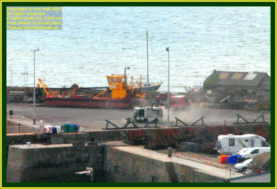 dredger cleaning chantier naval port de Granville harbour Manche Normandy France Eric Hall photo October 2021