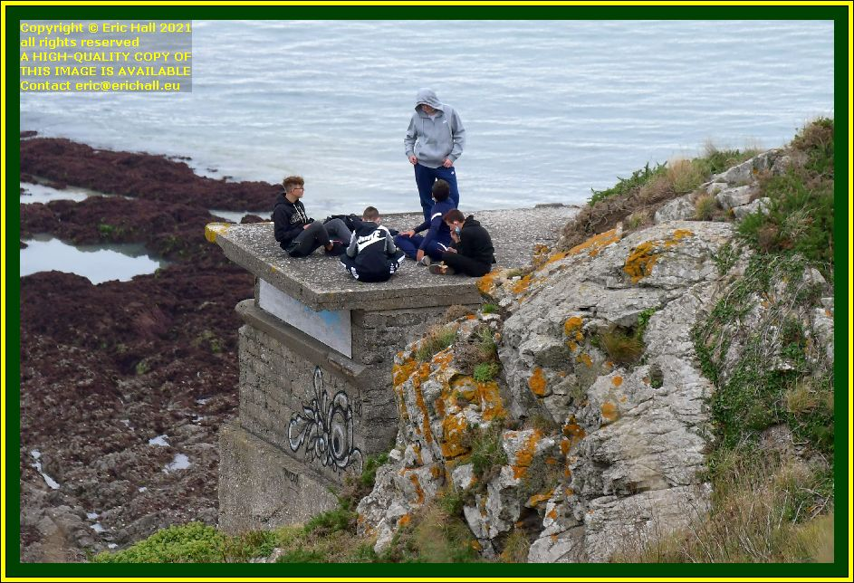 young people on bunker roof pointe du roc Granville Manche Normandy France Eric Hall photo October 2021