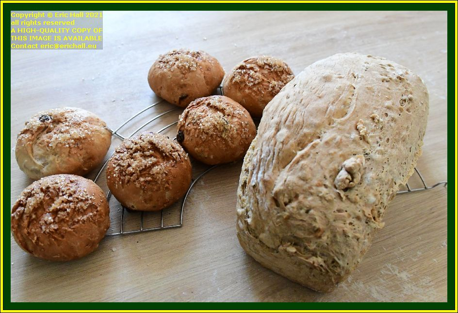 home made bread fruit buns place d'armes Granville Manche Normandy France Eric Hall photo October 2021