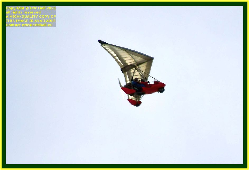 red powered hang glider place d'armes Granville Manche Normandy France Eric Hall photo October 2021