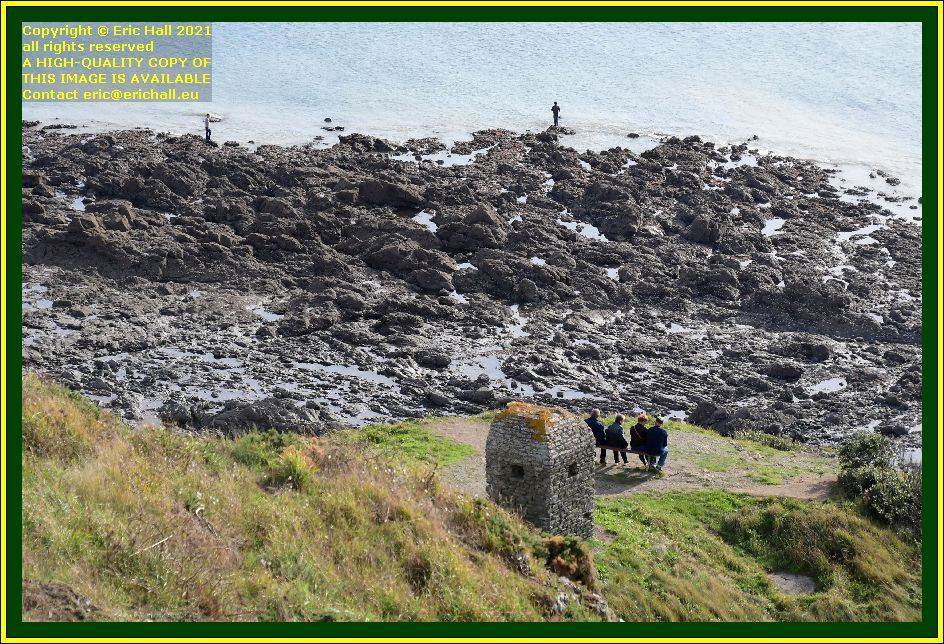 people on bench men fishing pointe du roc Granville Manche Normandy France Eric Hall photo October 2021