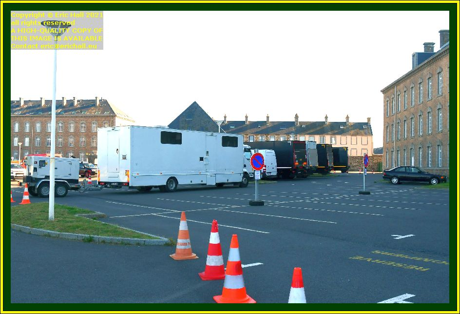 film camera crew lorries place d'armes Granville Manche Normandy France Eric Hall photo October 2021