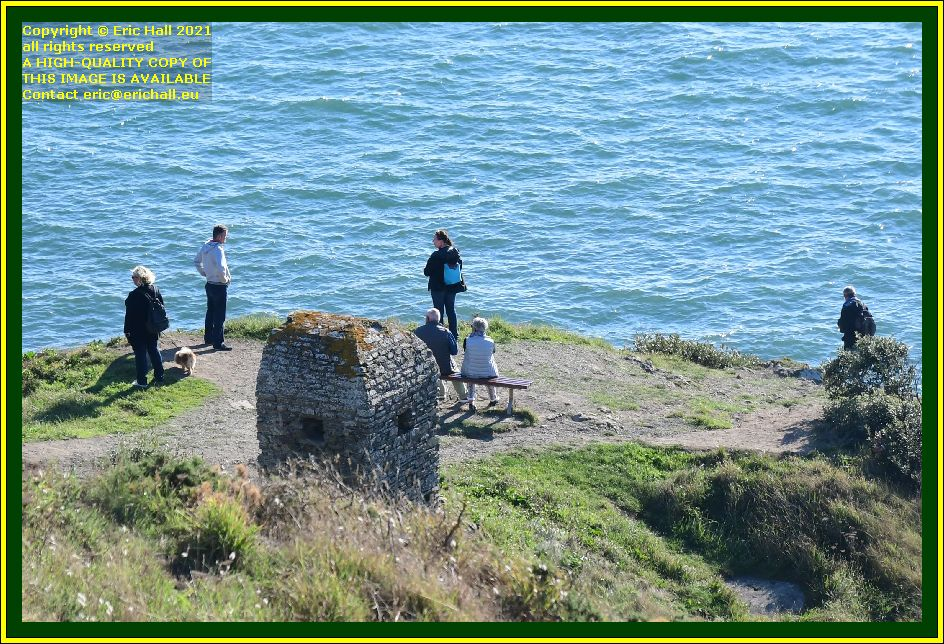 cabanon vauban people on bench pointe du roc Granville Manche Normandy France Eric Hall photo October 2021